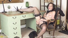 Naughty secretary strips off fingers pussy in nylons heels Thumb