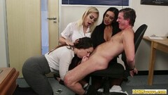 Clothed babes gobble down hard cock Thumb