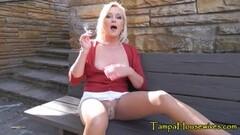 Naughty Outdoors Smoking, Masturbating and Cumming Thumb