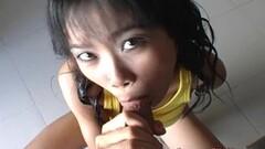 Petite Asian girl fucks big foreign mans dick Thumb