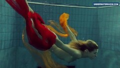 Kinky Yellow and Red clothed teen underwater Thumb