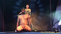Sexy fetish show on public show stage Thumb