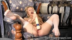 Femorg Blonde in Stockings Reaches Hot Orgasm Thumb