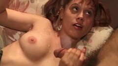 See Hot Footjob From Brunette MILF On Couch Thumb