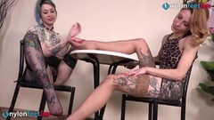Sexy Italian lesbians play nylon footsies Thumb